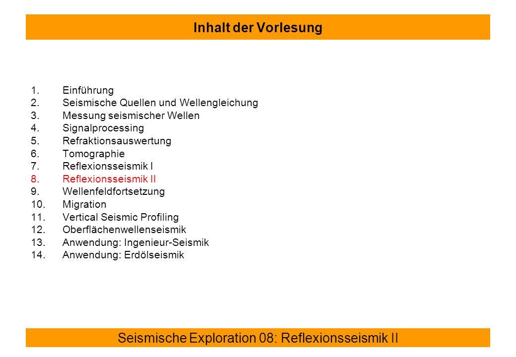 Inhalt der Vorlesung Einführung Seismische Quellen und Wellengleichung