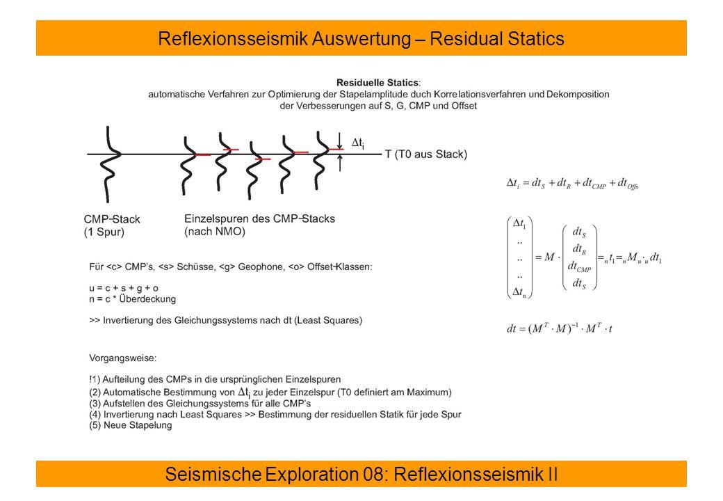 Reflexionsseismik Auswertung – Residual Statics