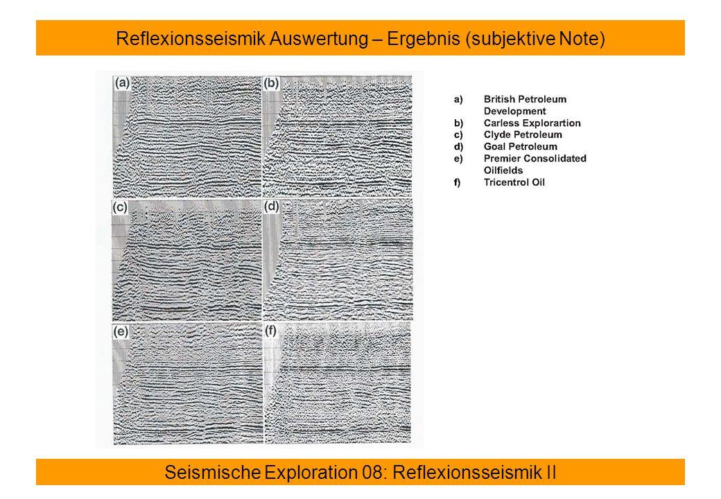Reflexionsseismik Auswertung – Ergebnis (subjektive Note)