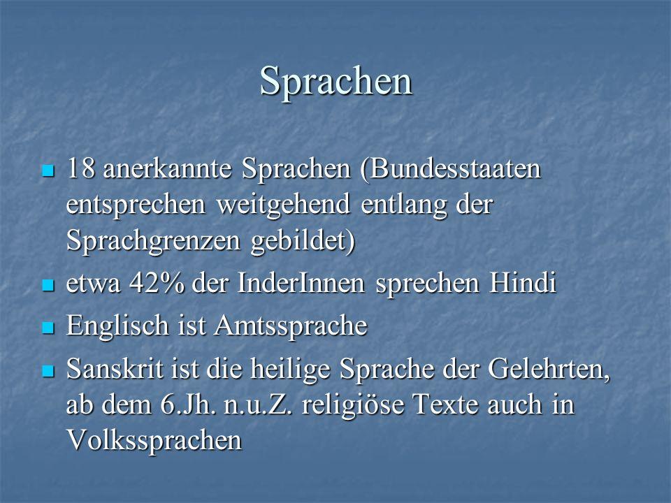 Sprachen 18 anerkannte Sprachen (Bundesstaaten entsprechen weitgehend entlang der Sprachgrenzen gebildet)
