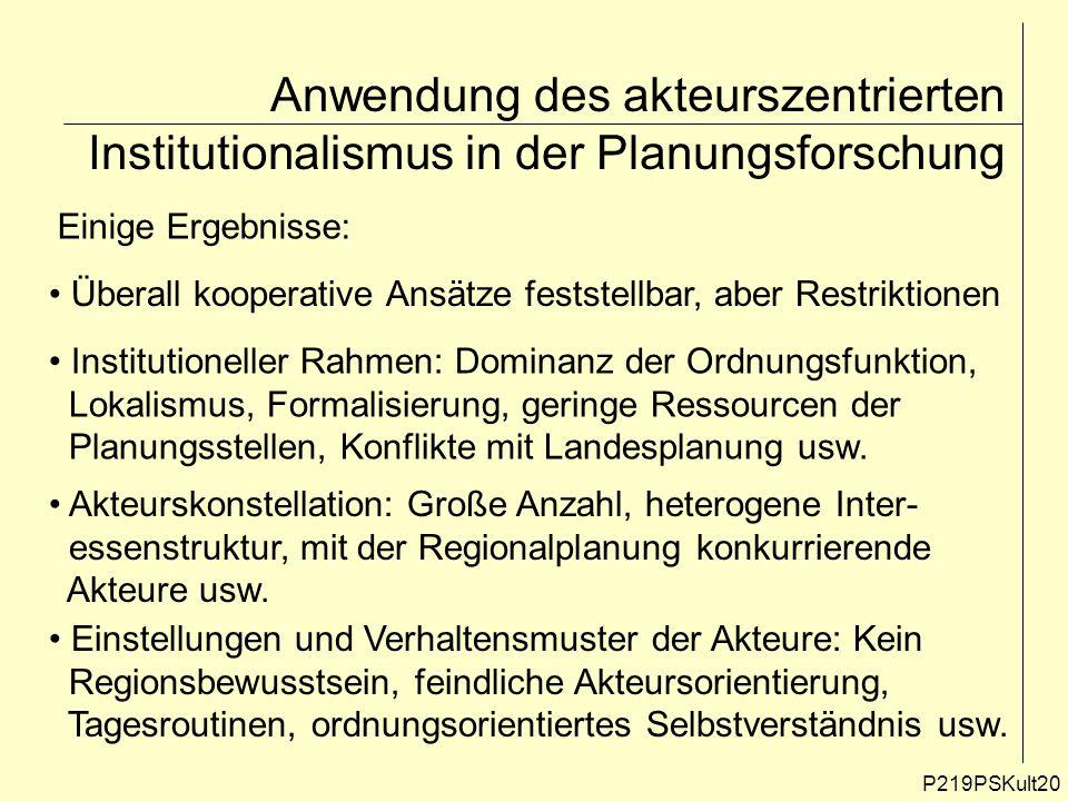 Anwendung des akteurszentrierten Institutionalismus in der Planungsforschung