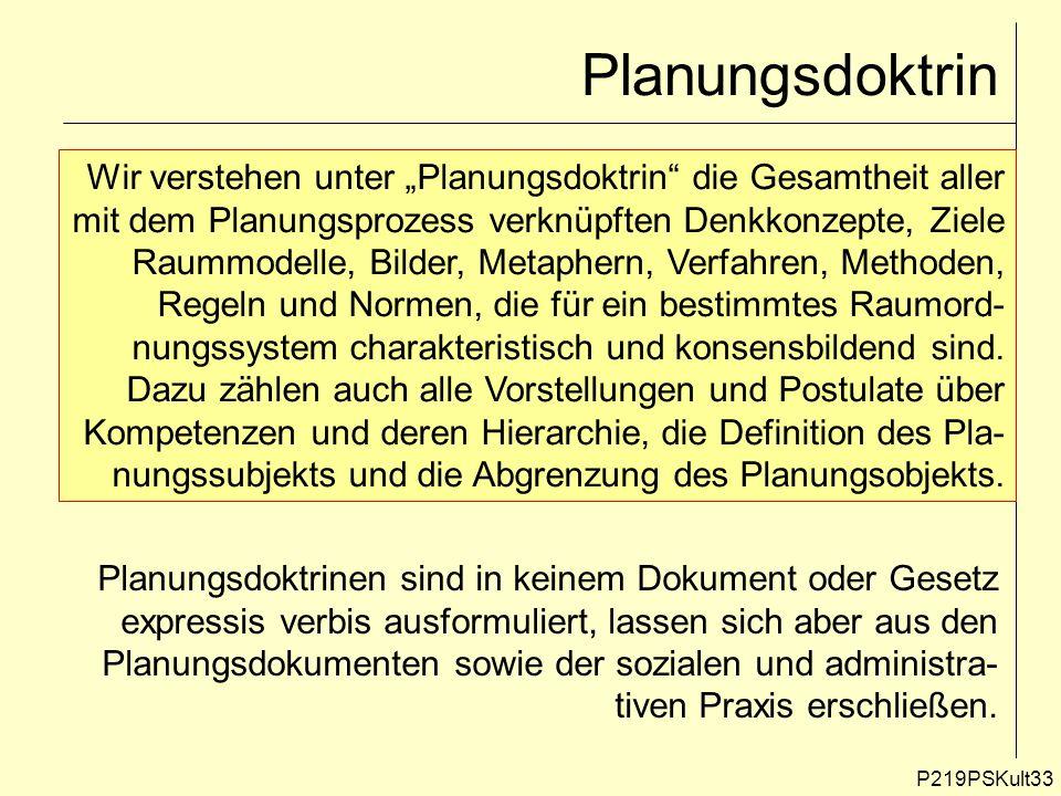 """Planungsdoktrin Wir verstehen unter """"Planungsdoktrin die Gesamtheit aller. mit dem Planungsprozess verknüpften Denkkonzepte, Ziele."""