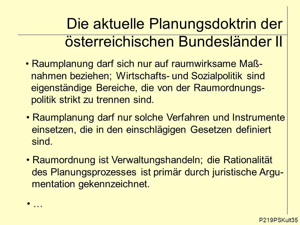 Die aktuelle Planungsdoktrin der österreichischen Bundesländer II