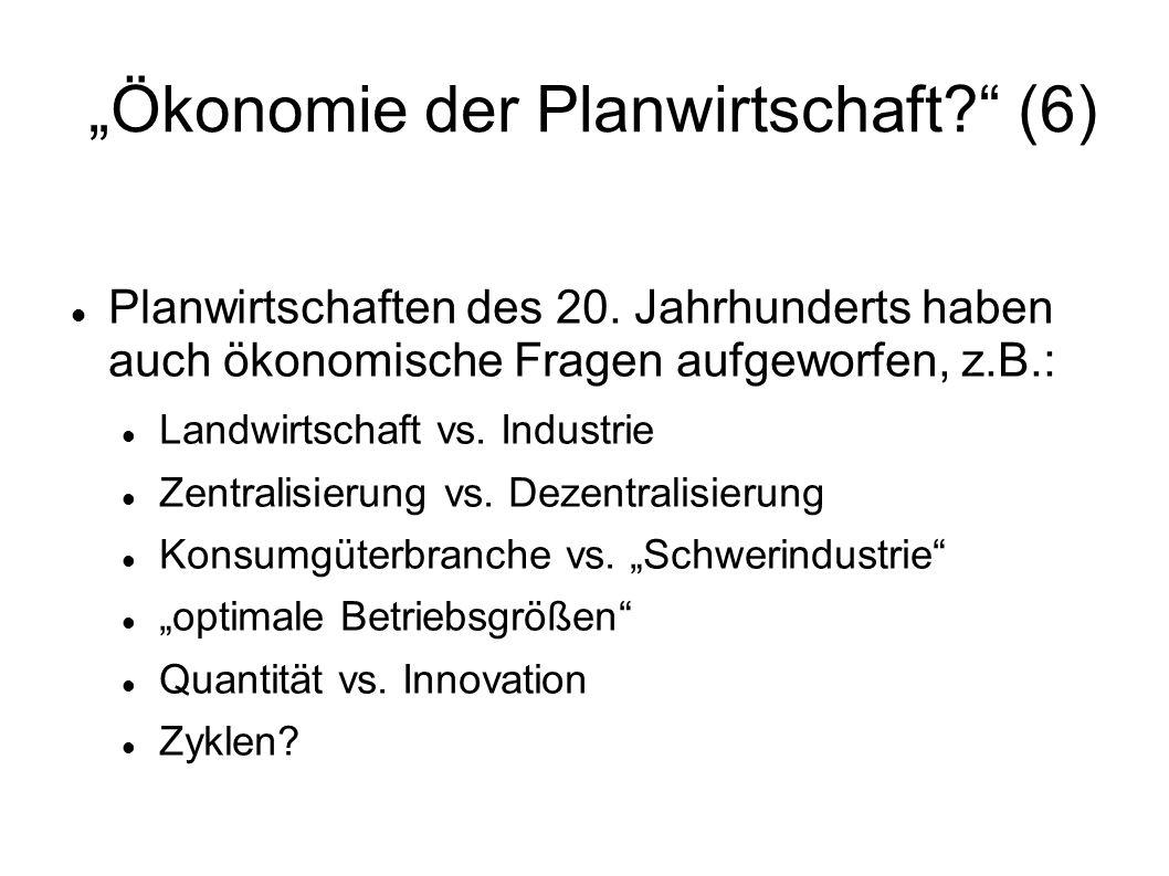 """""""Ökonomie der Planwirtschaft (6)"""