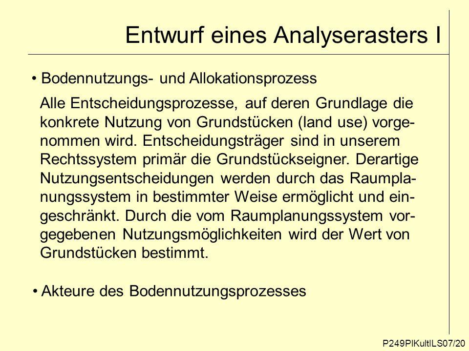 Entwurf eines Analyserasters I
