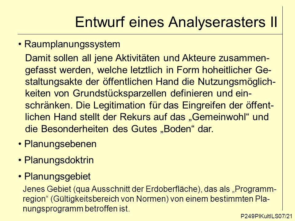 Entwurf eines Analyserasters II