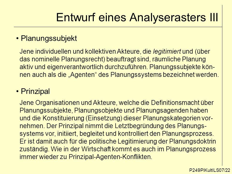 Entwurf eines Analyserasters III