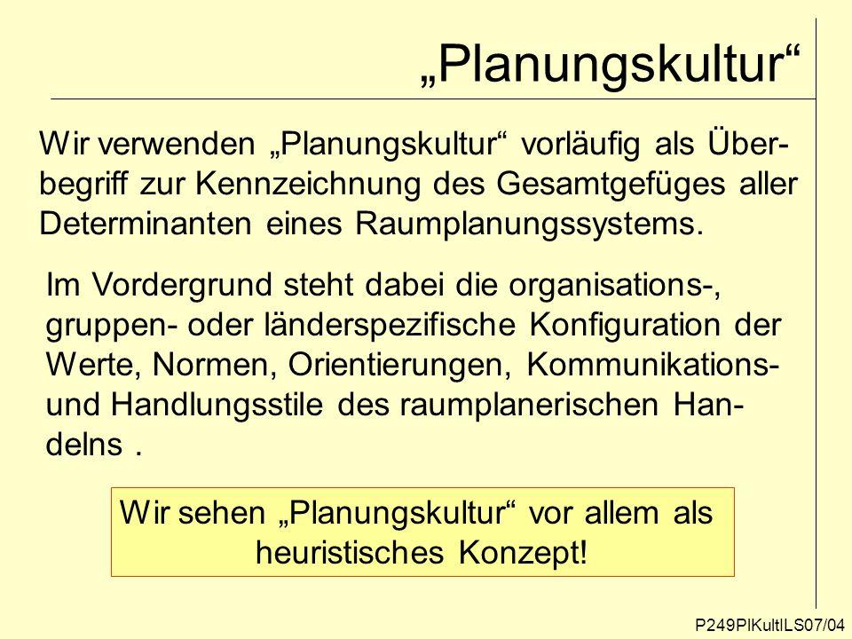 """""""Planungskultur Wir verwenden """"Planungskultur vorläufig als Über-"""