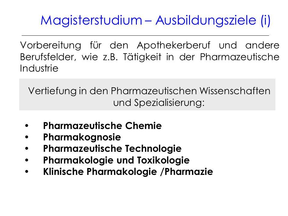 Vertiefung in den Pharmazeutischen Wissenschaften und Spezialisierung: