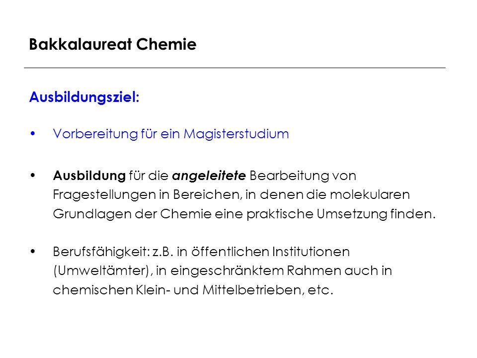 Bakkalaureat Chemie Ausbildungsziel: