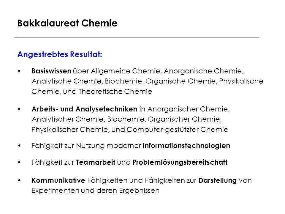 Bakkalaureat Chemie Angestrebtes Resultat: