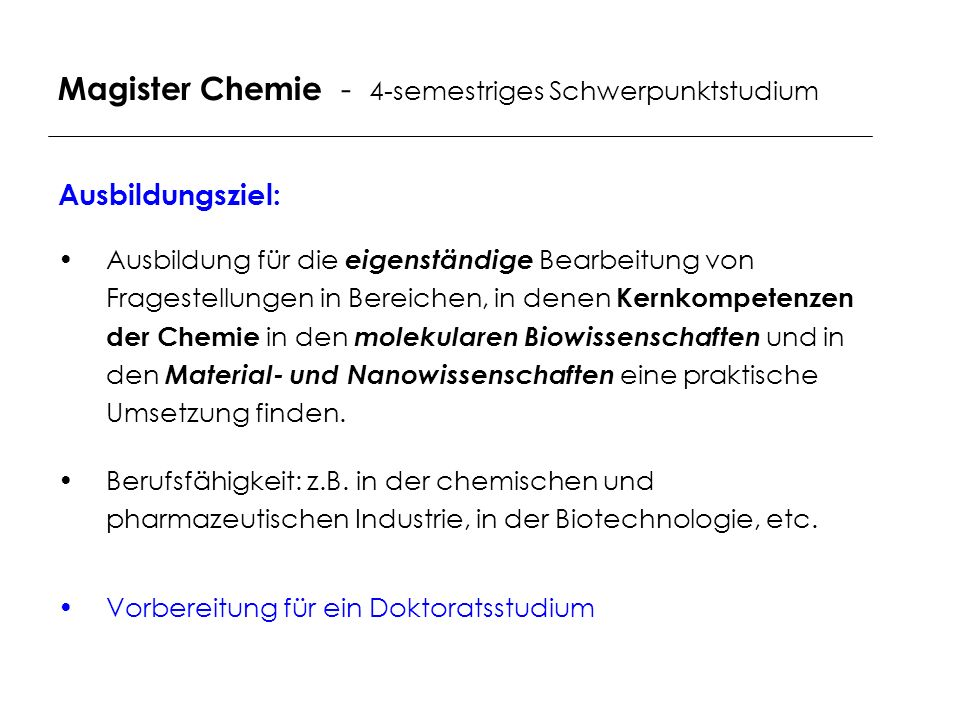 Magister Chemie - 4-semestriges Schwerpunktstudium