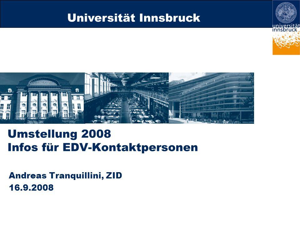 Umstellung 2008 Infos für EDV-Kontaktpersonen