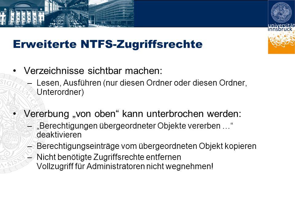 Erweiterte NTFS-Zugriffsrechte