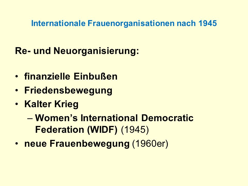 Internationale Frauenorganisationen nach 1945