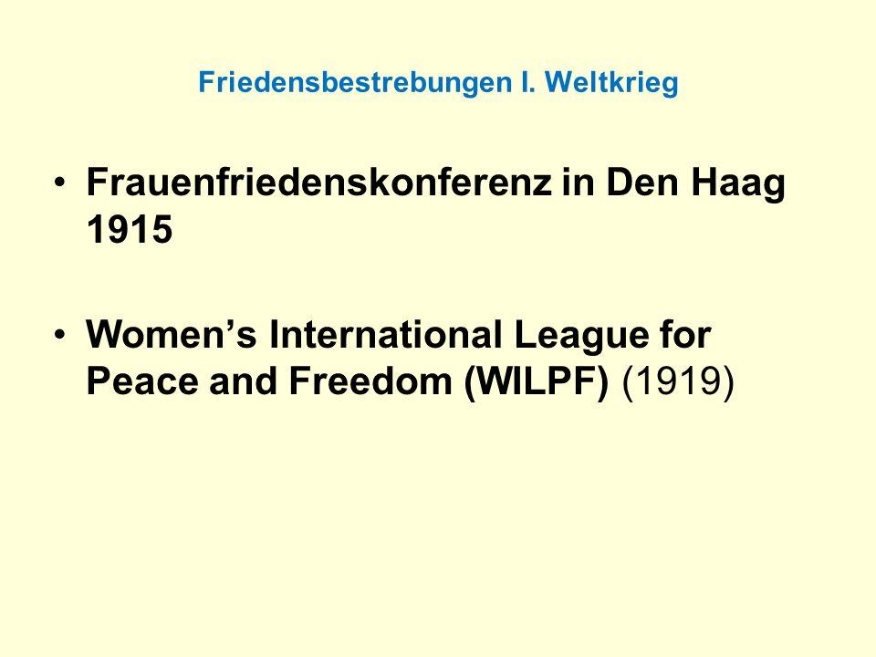 Friedensbestrebungen I. Weltkrieg