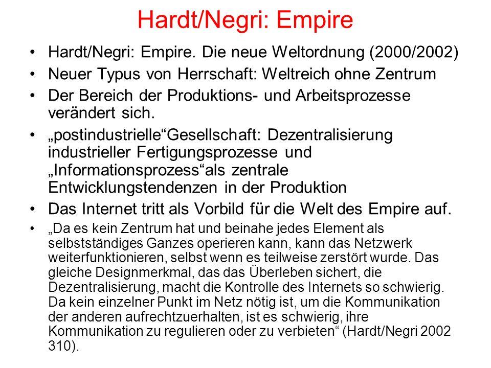 Hardt/Negri: Empire Hardt/Negri: Empire. Die neue Weltordnung (2000/2002) Neuer Typus von Herrschaft: Weltreich ohne Zentrum.