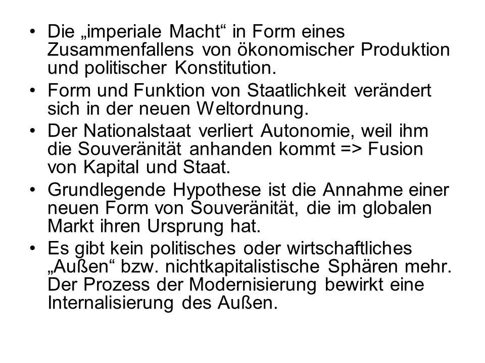 """Die """"imperiale Macht in Form eines Zusammenfallens von ökonomischer Produktion und politischer Konstitution."""