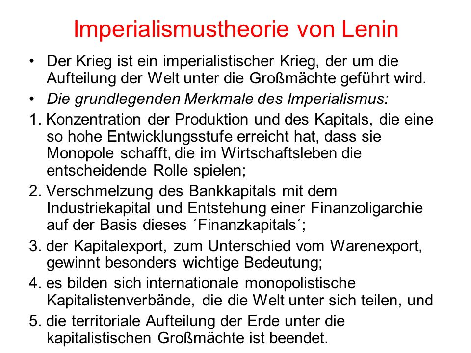 Imperialismustheorie von Lenin
