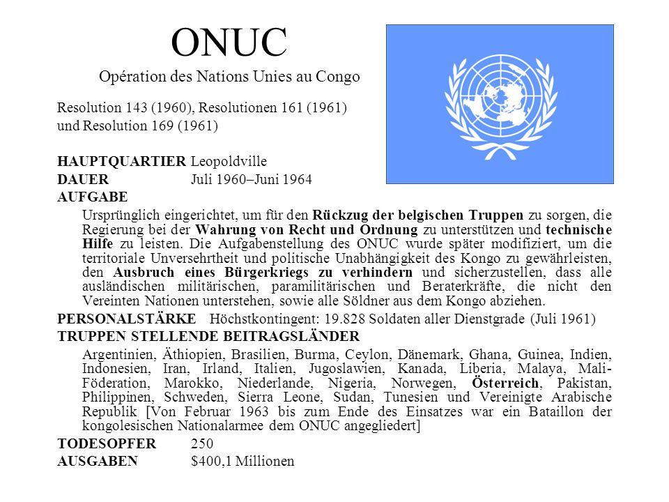 ONUC Opération des Nations Unies au Congo