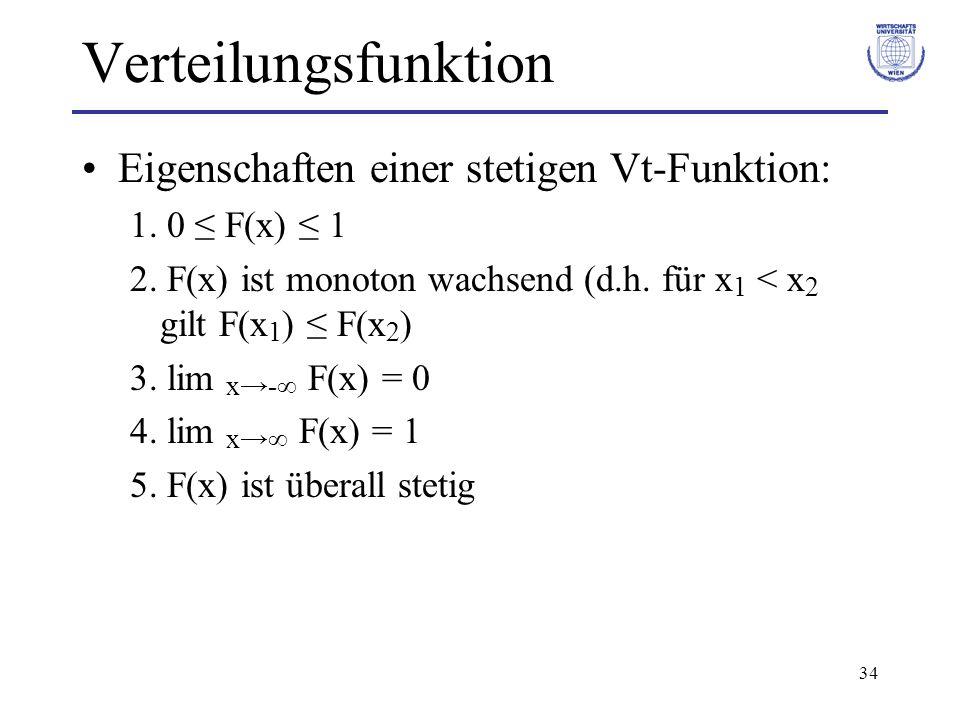Verteilungsfunktion Eigenschaften einer stetigen Vt-Funktion: