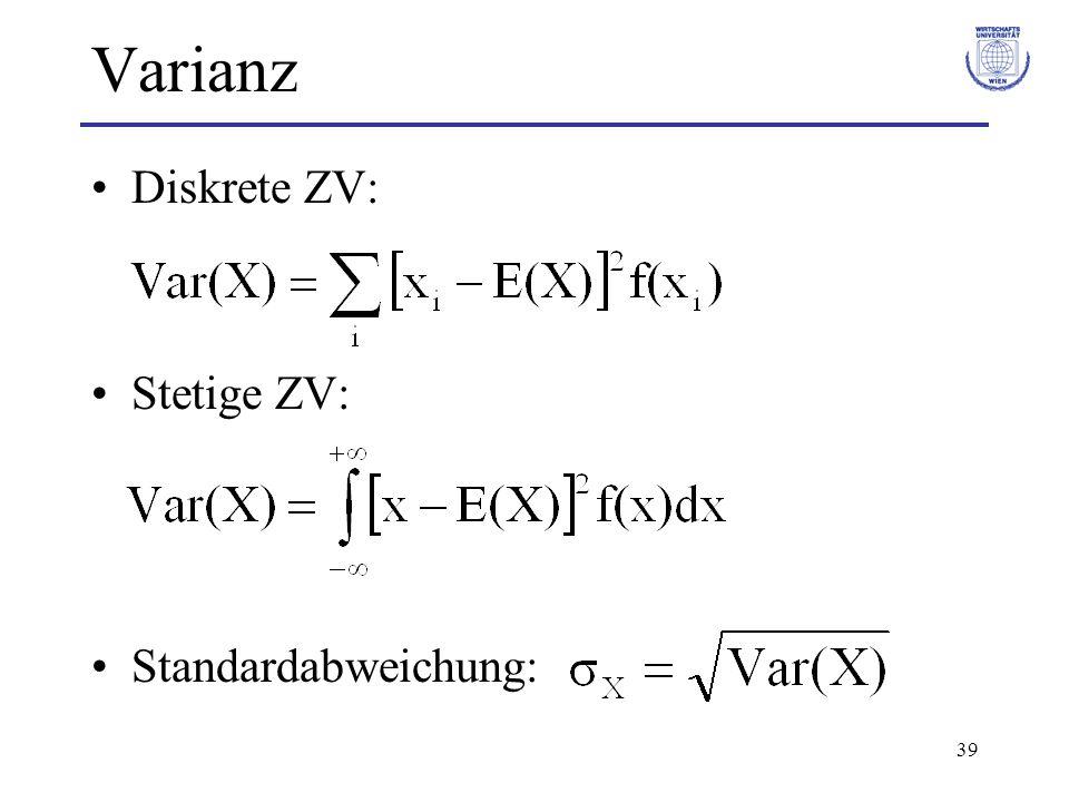 Varianz Diskrete ZV: Stetige ZV: Standardabweichung: