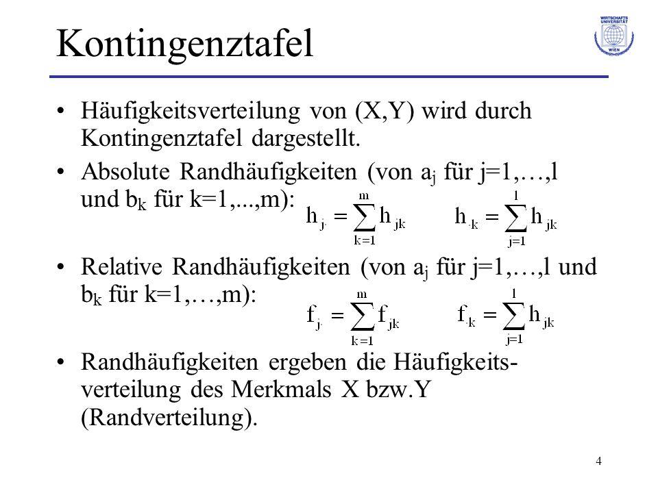 Kontingenztafel Häufigkeitsverteilung von (X,Y) wird durch Kontingenztafel dargestellt.