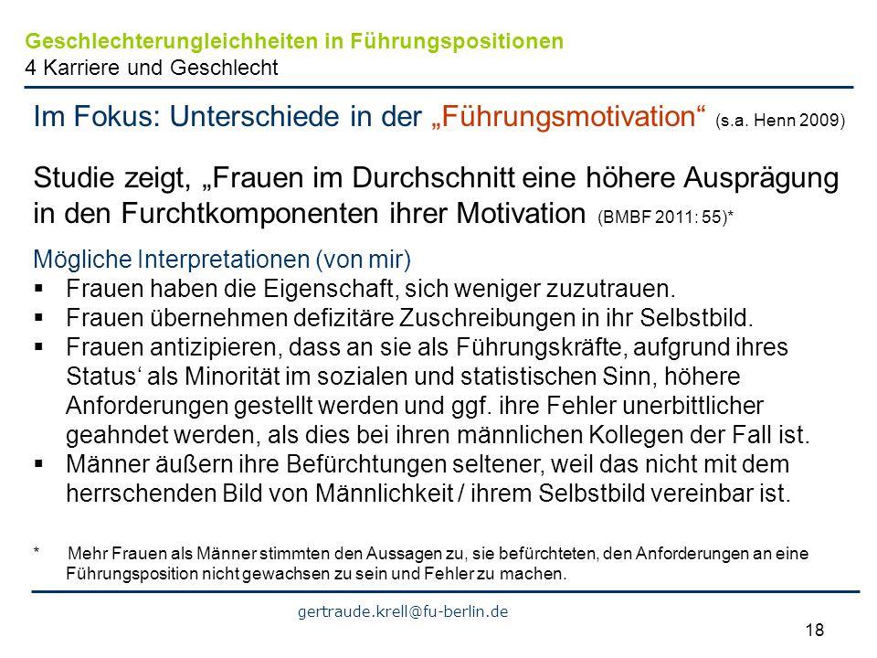 """Im Fokus: Unterschiede in der """"Führungsmotivation (s.a. Henn 2009)"""