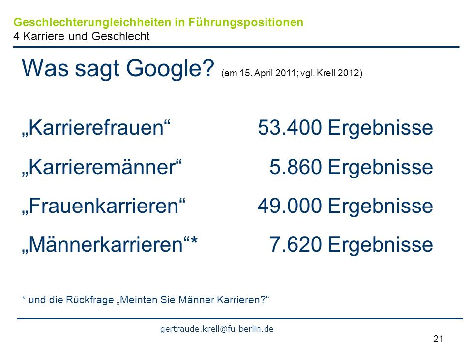 Was sagt Google (am 15. April 2011; vgl. Krell 2012)