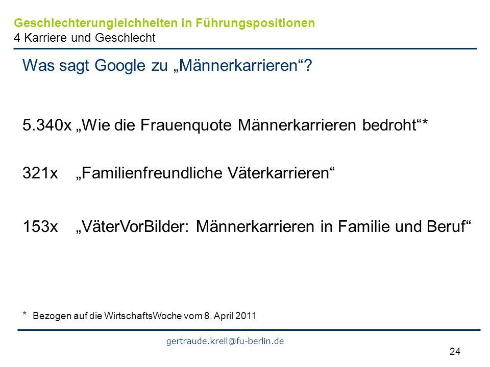 """Was sagt Google zu """"Männerkarrieren"""