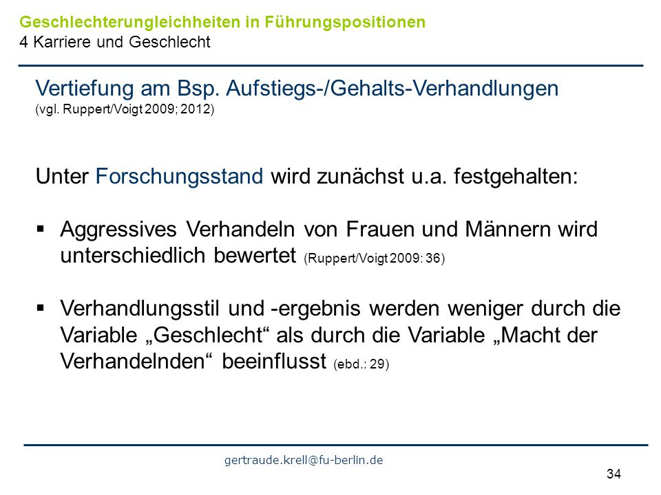 Vertiefung am Bsp. Aufstiegs-/Gehalts-Verhandlungen