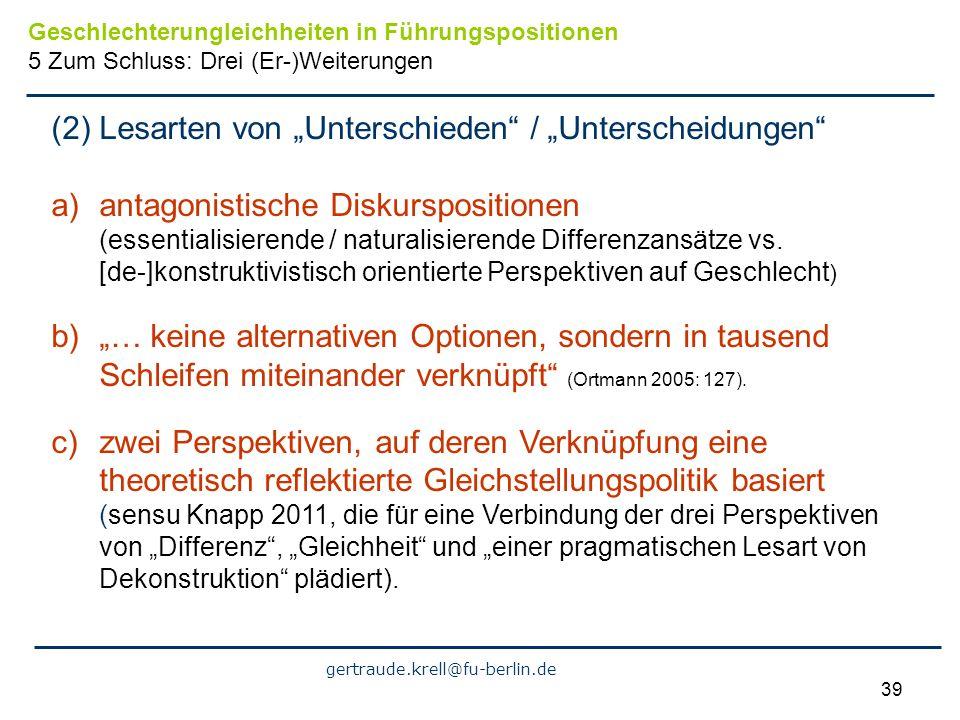 """(2) Lesarten von """"Unterschieden / """"Unterscheidungen"""
