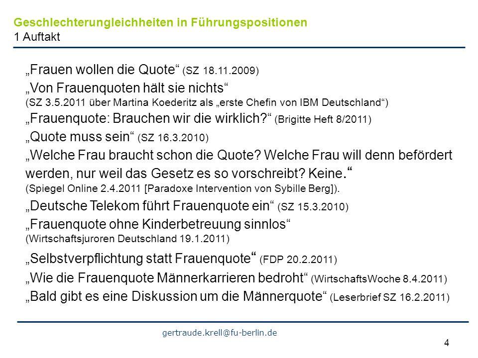 """""""Frauen wollen die Quote (SZ 18.11.2009)"""