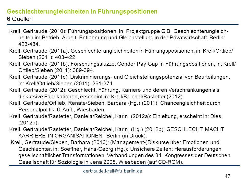 Geschlechterungleichheiten in Führungspositionen 6 Quellen