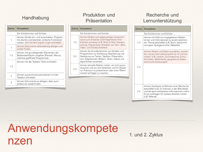 Produktion und Präsentation Recherche und Lernunterstützung Handhabung