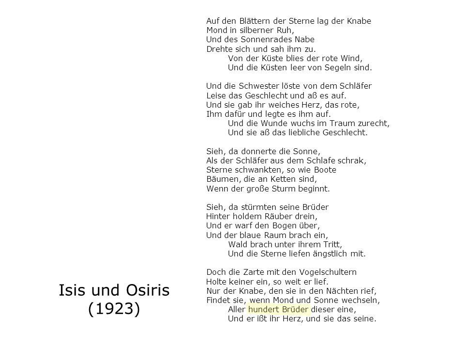 Isis und Osiris (1923) Auf den Blättern der Sterne lag der Knabe