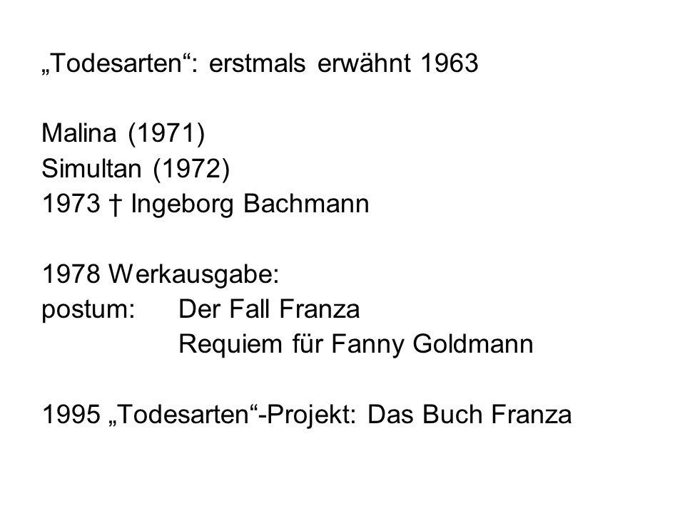 """""""Todesarten : erstmals erwähnt 1963"""