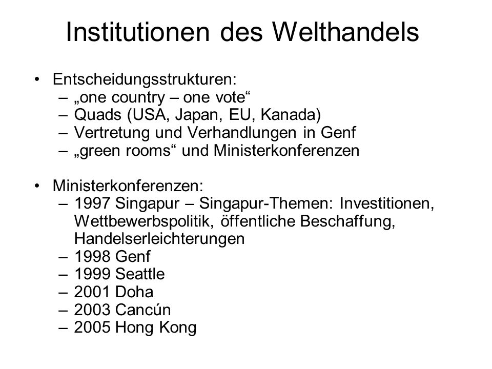 Institutionen des Welthandels