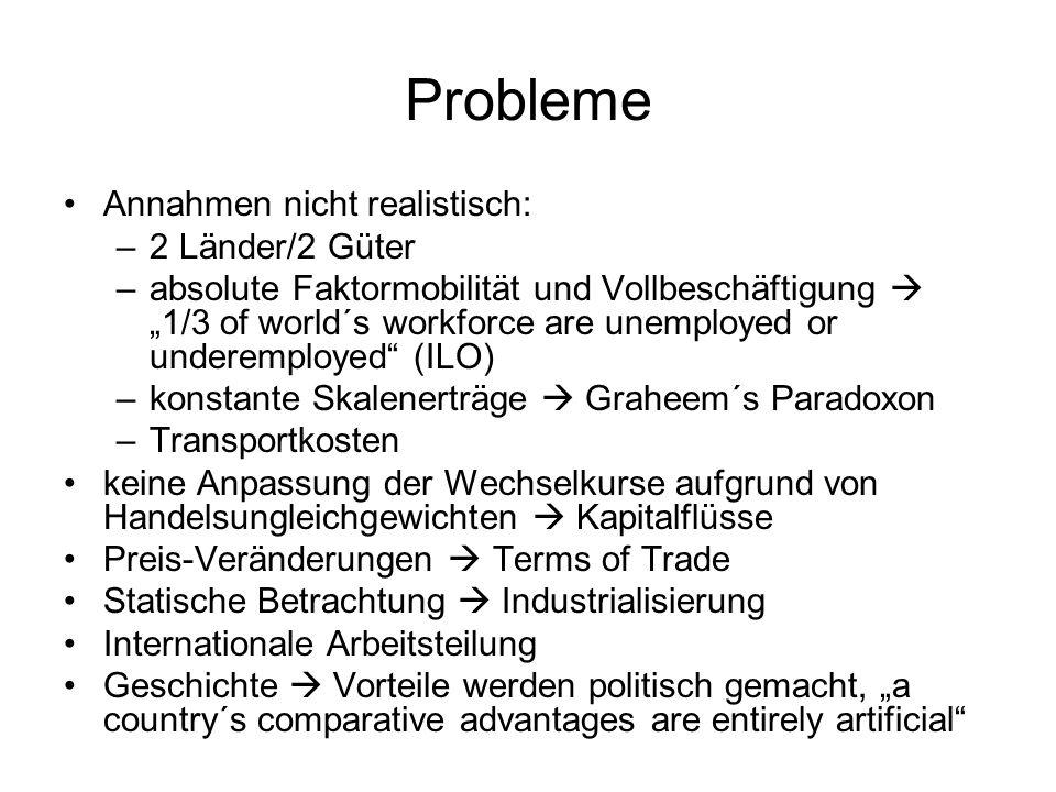 Probleme Annahmen nicht realistisch: 2 Länder/2 Güter