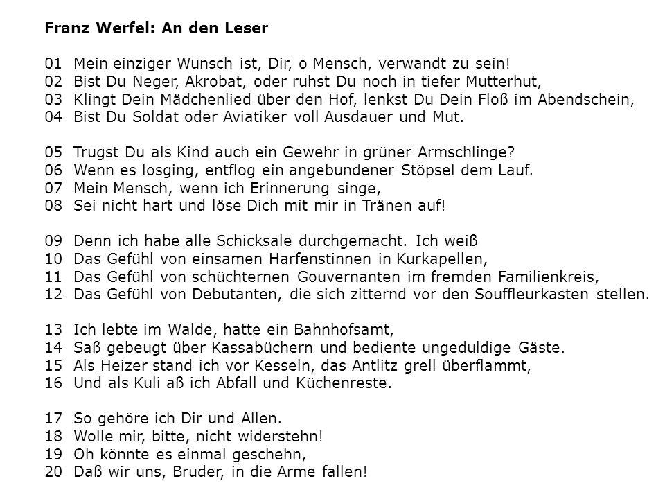 Franz Werfel: An den Leser