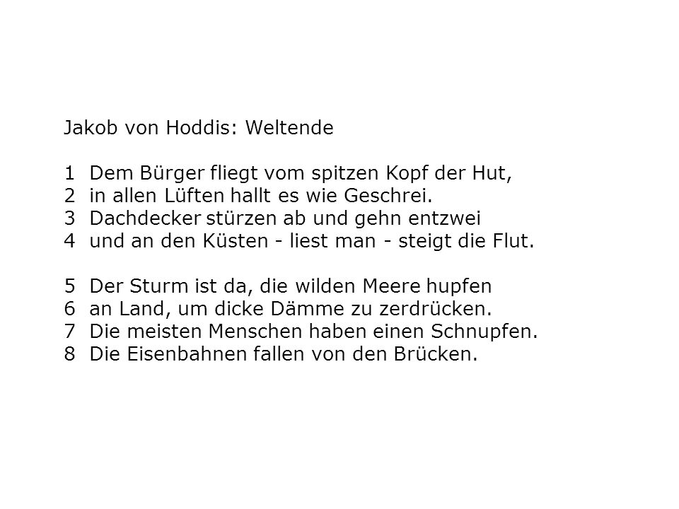 Jakob von Hoddis: Weltende