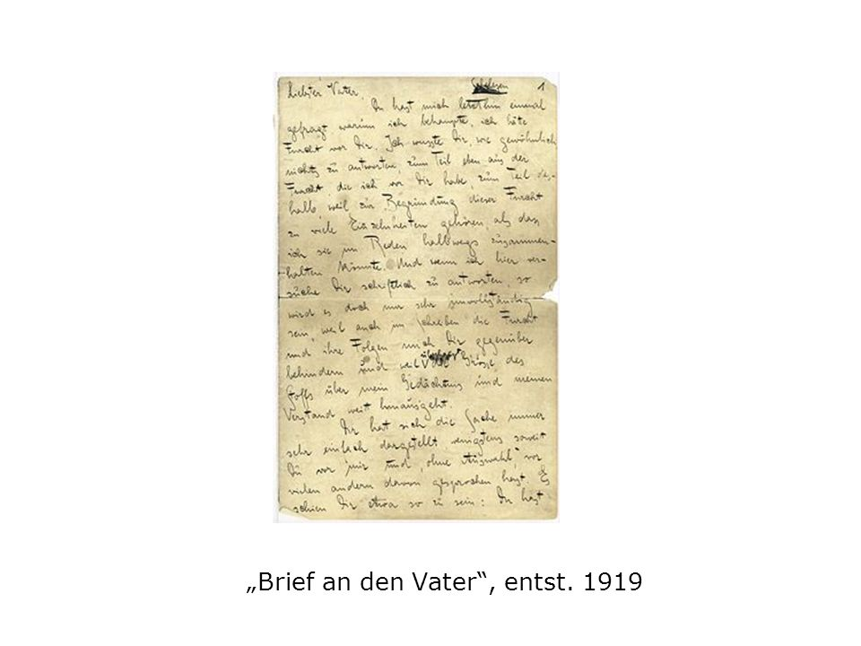 """""""Brief an den Vater , entst. 1919"""