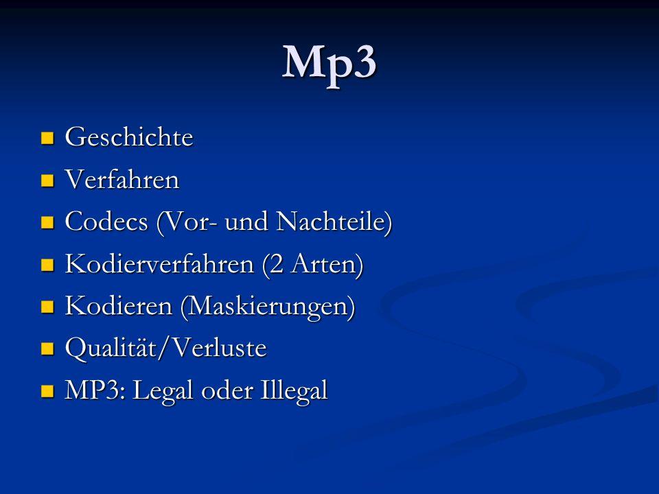 Mp3 Geschichte Verfahren Codecs (Vor- und Nachteile)