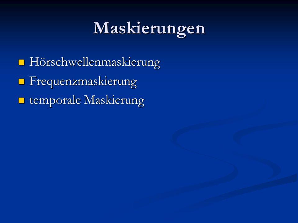 Maskierungen Hörschwellenmaskierung Frequenzmaskierung