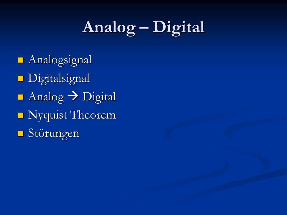 Analog – Digital Analogsignal Digitalsignal Analog  Digital