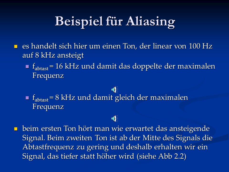 Beispiel für Aliasing es handelt sich hier um einen Ton, der linear von 100 Hz auf 8 kHz ansteigt.