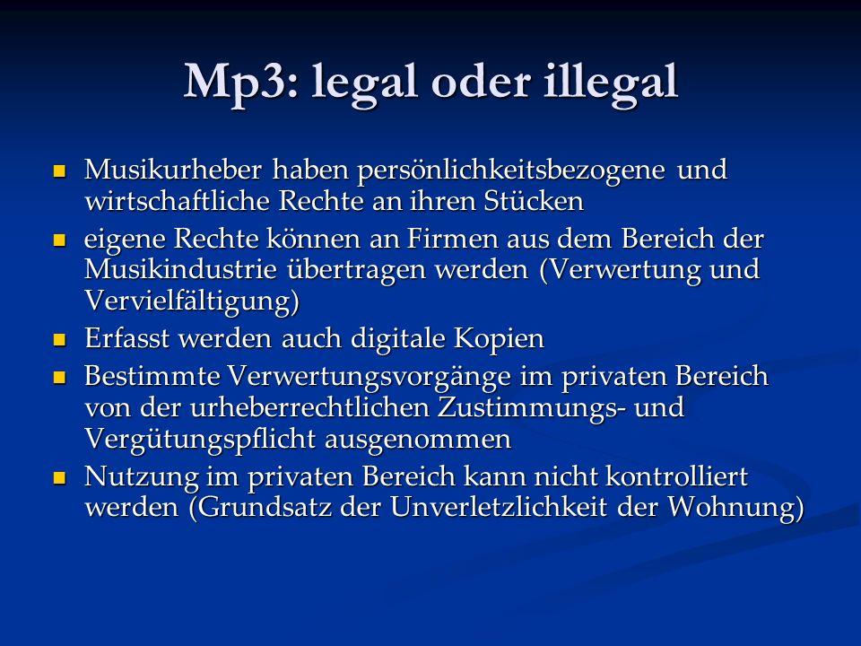 Mp3: legal oder illegal Musikurheber haben persönlichkeitsbezogene und wirtschaftliche Rechte an ihren Stücken.