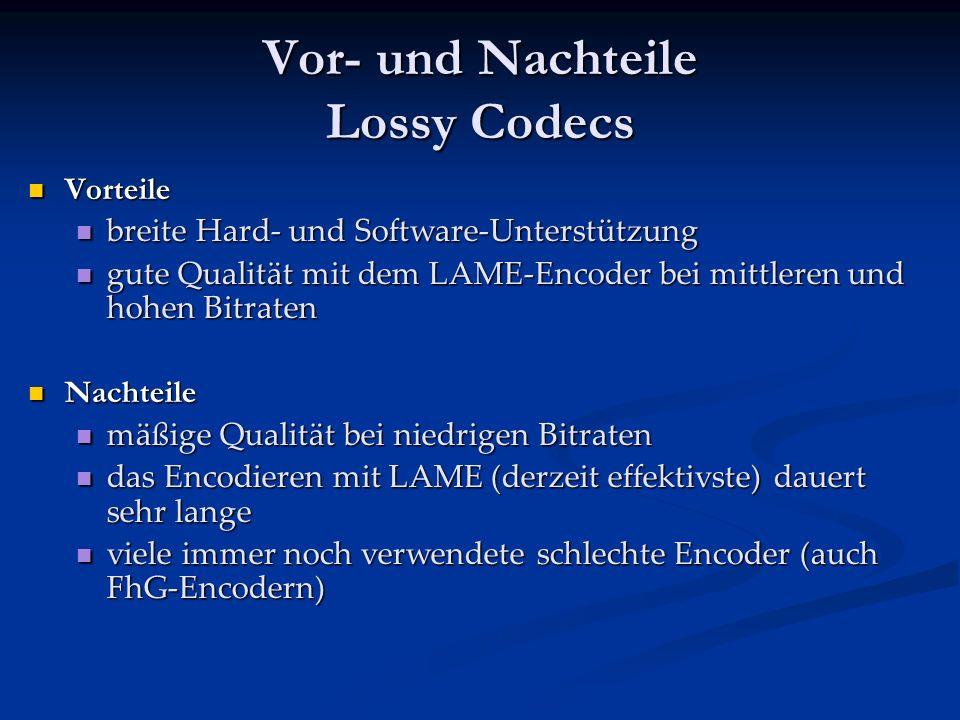 Vor- und Nachteile Lossy Codecs