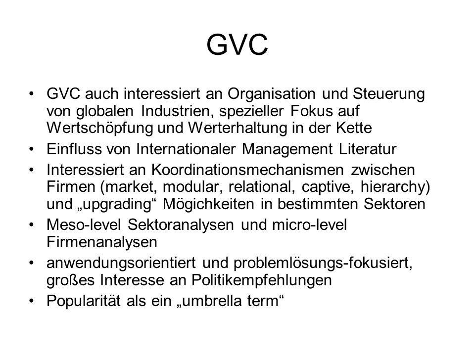 GVC GVC auch interessiert an Organisation und Steuerung von globalen Industrien, spezieller Fokus auf Wertschöpfung und Werterhaltung in der Kette.