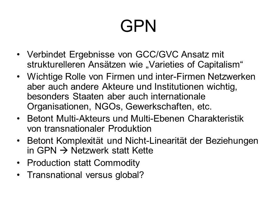 """GPN Verbindet Ergebnisse von GCC/GVC Ansatz mit strukturelleren Ansätzen wie """"Varieties of Capitalism"""